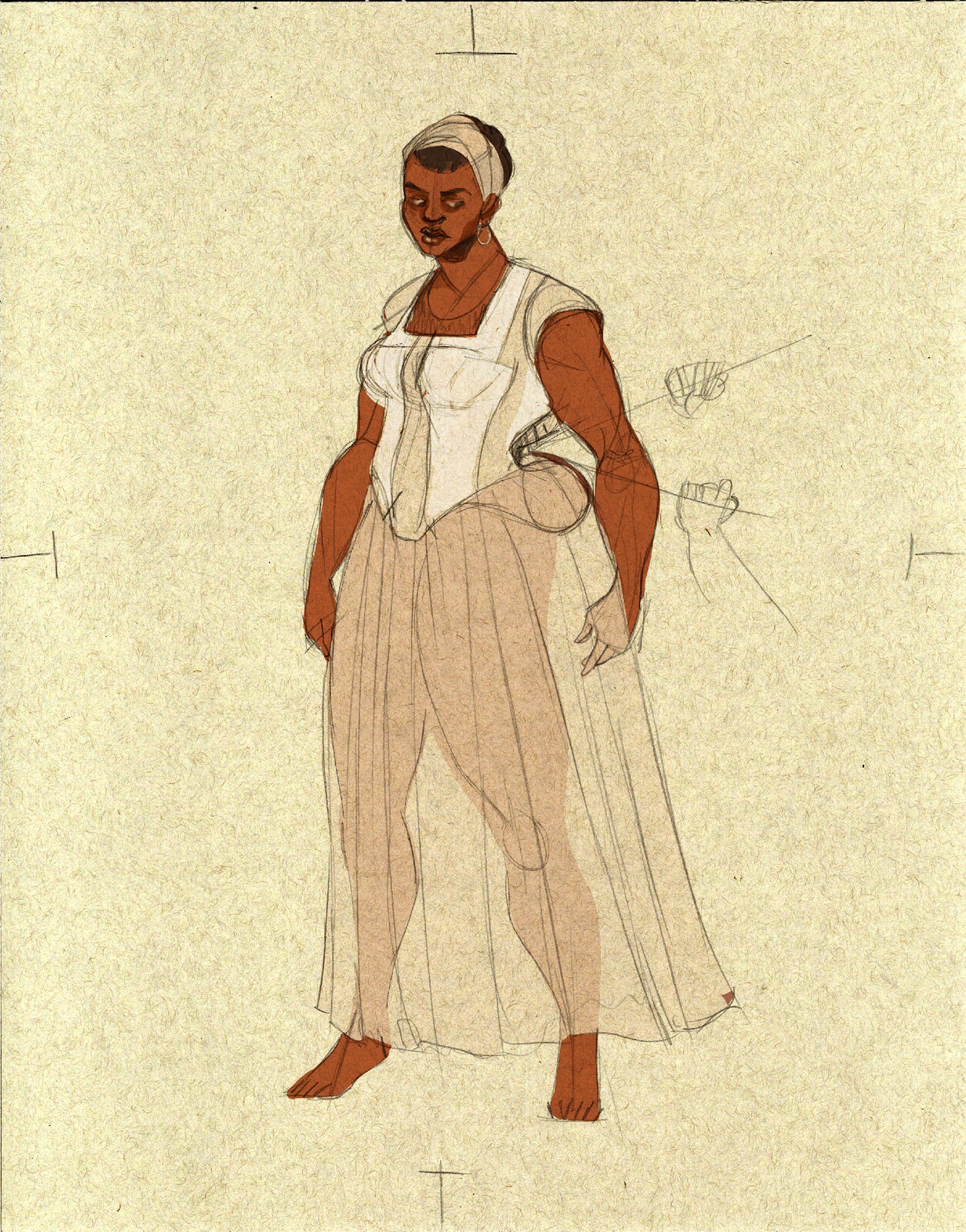 Saartjie Baartmann: concept rendering and technical drawing for padding