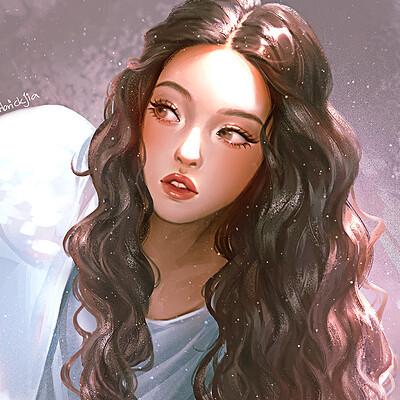 Karmen loh girl curly hair compressed