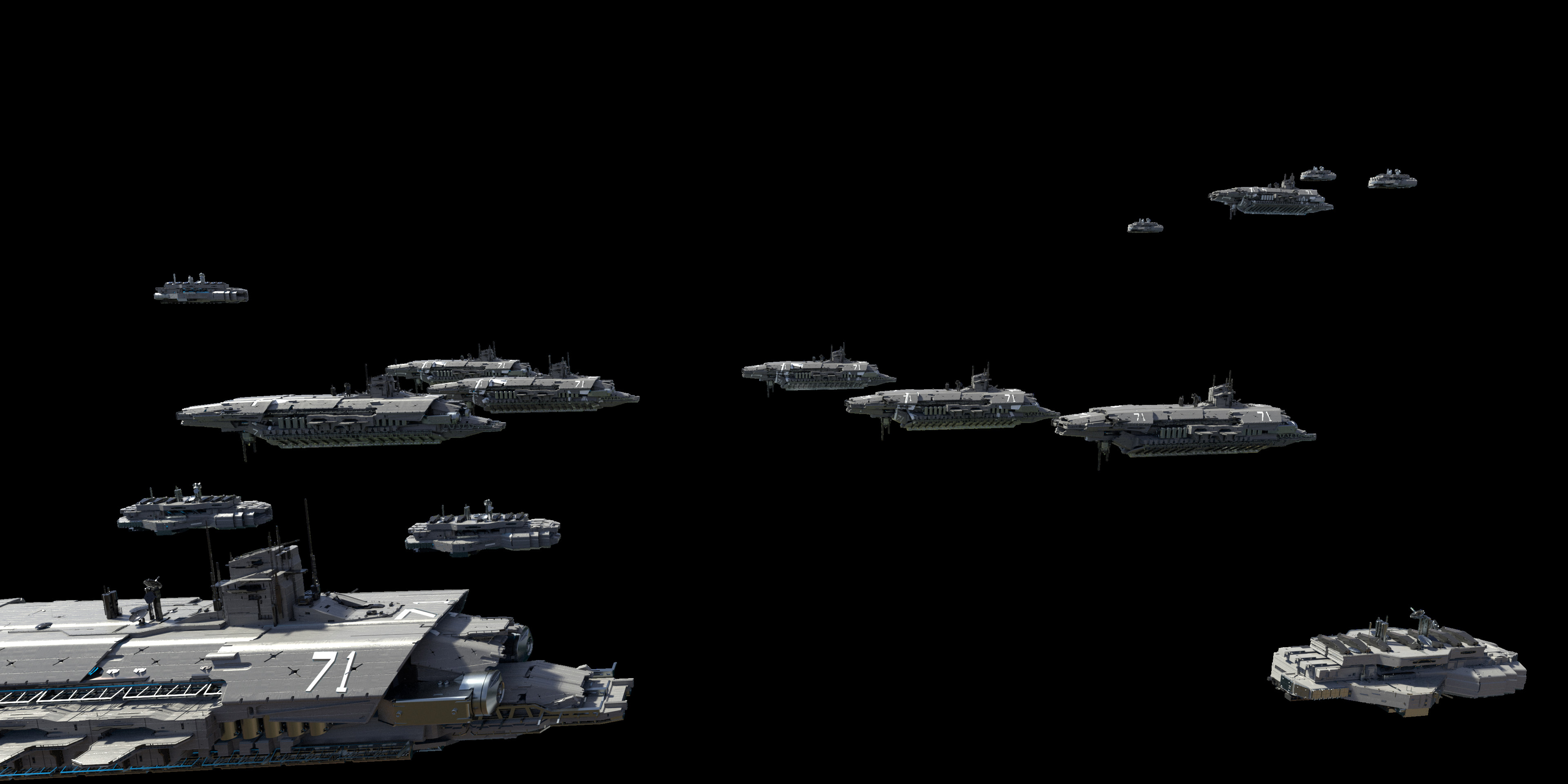 Kitbashed ships made with parts from Nick Govacko and Vitaly Bulgarov
