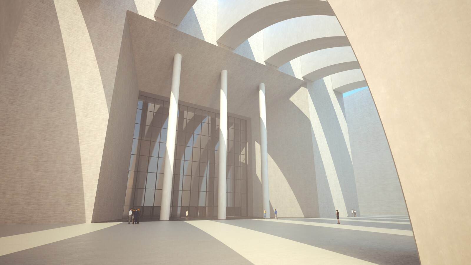 SketchUp 2019 + Thea Render  Large Hall Main Entry_SU8 2018-Scene 7 B Emitter 3840x2160 43m48s 1024 sp 01