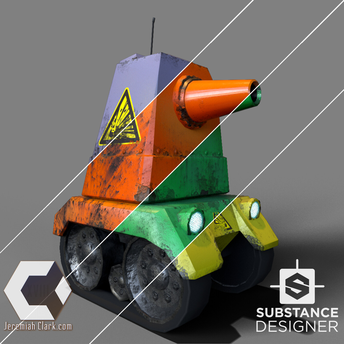 The substance also has built-in paint color options that can be customized.  Mesh optimized and UVed in Modo. Textured using Substance Designer. Rendered using IRay in Substance Designer.