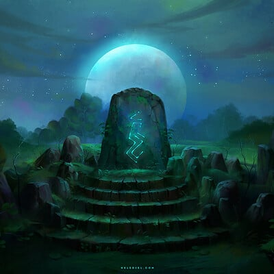 Nele diel runestone at night