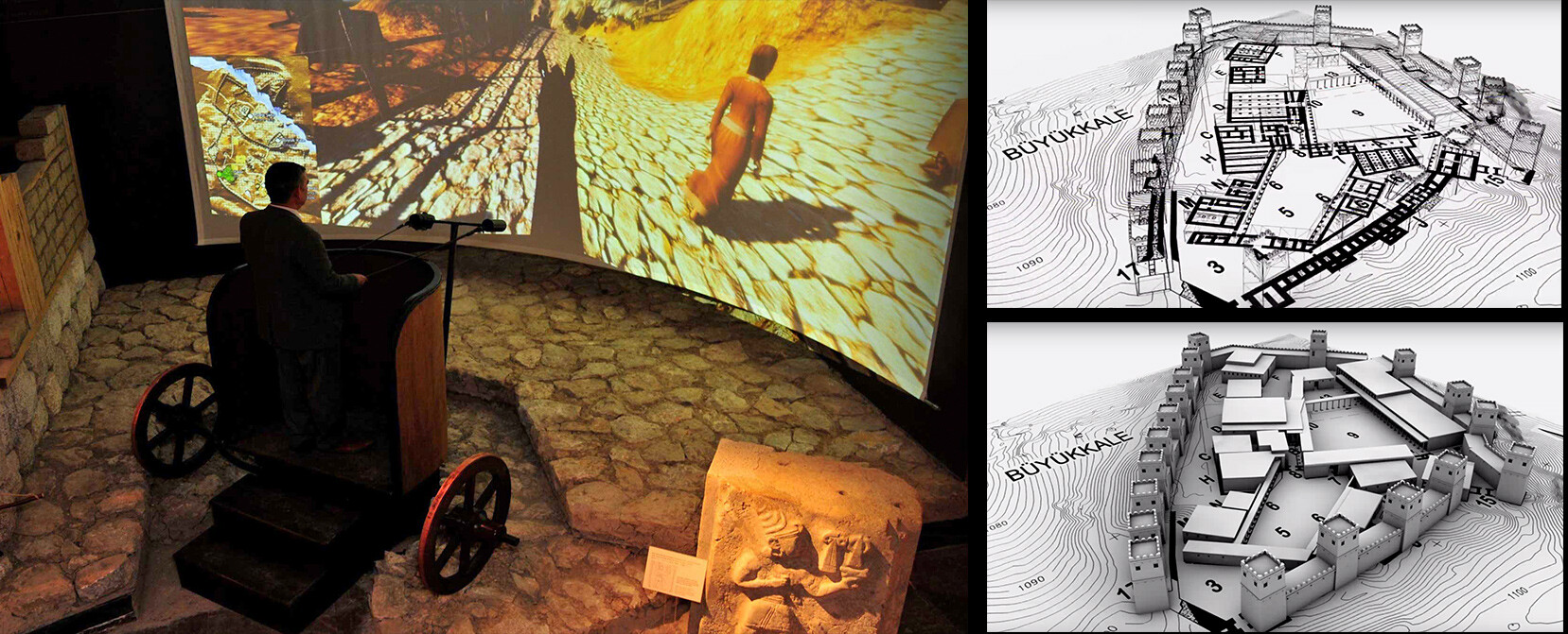 Virtual Hattusa Reconstruction & Chariot Simulator, Corum Archeology Museum,  2011, two projector, cylindrical screen, edge blending