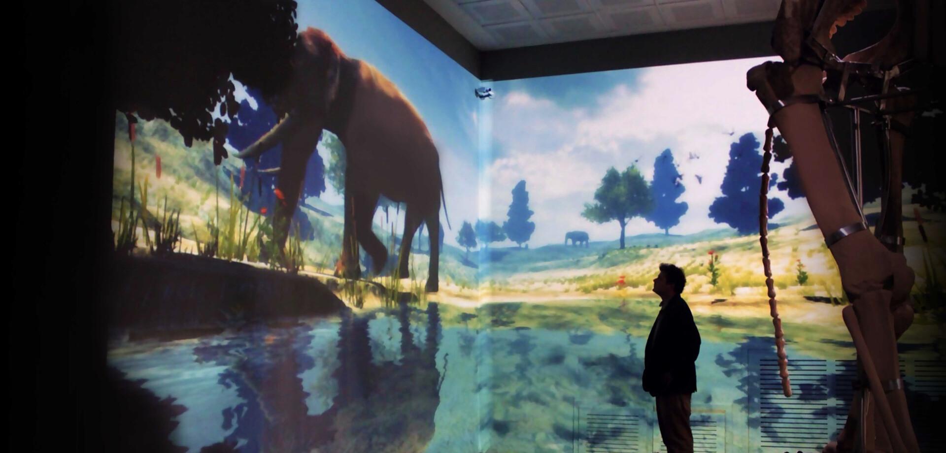 interactive virtual life simulation of the extinct Maras elephant, Maras Museum, 2012