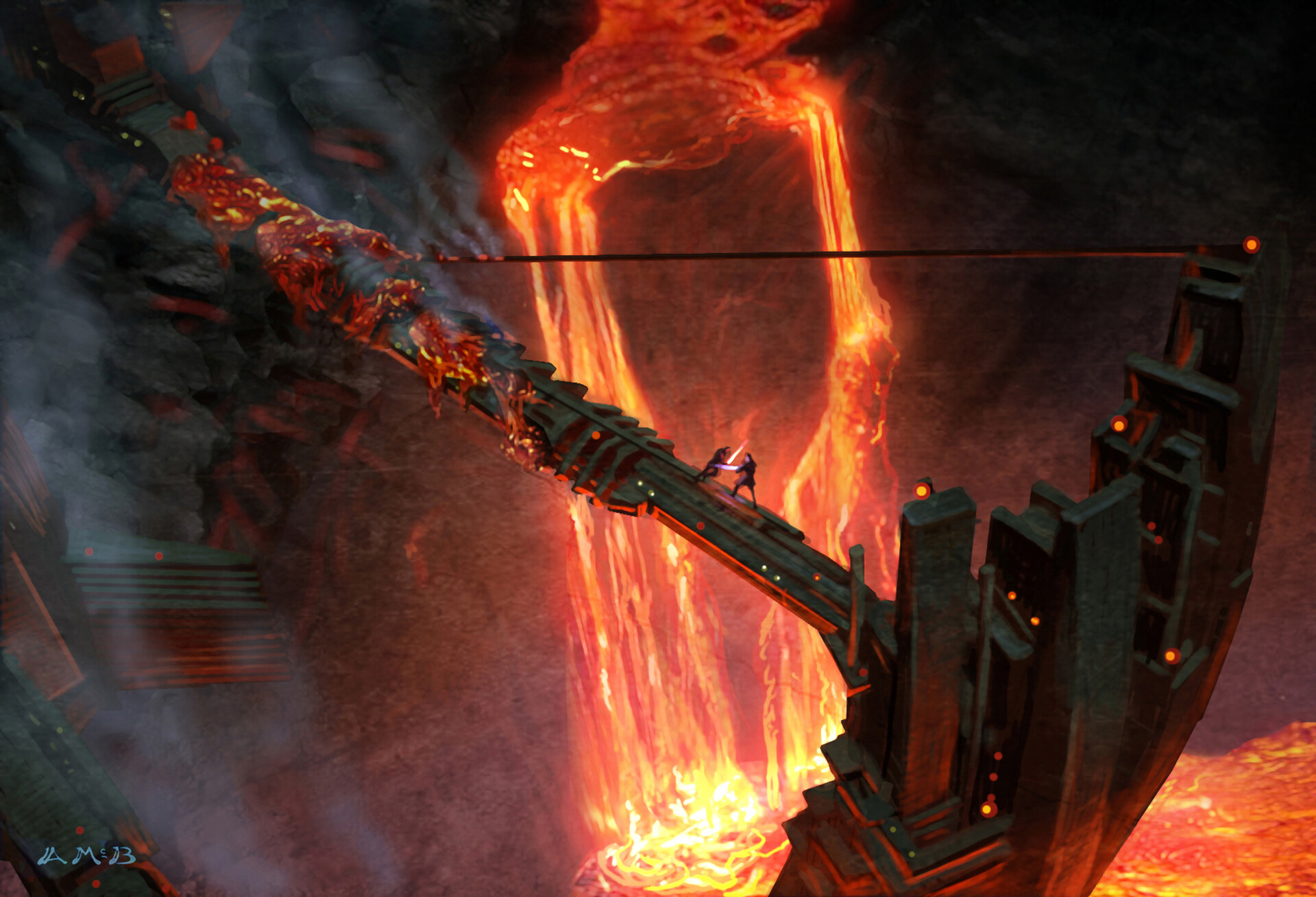 Artstation Star Wars Revenge Of The Sith 2005 Concept Of Obi Wan Dueling Anakin On Lava Collection Arm Aaron Mcbride