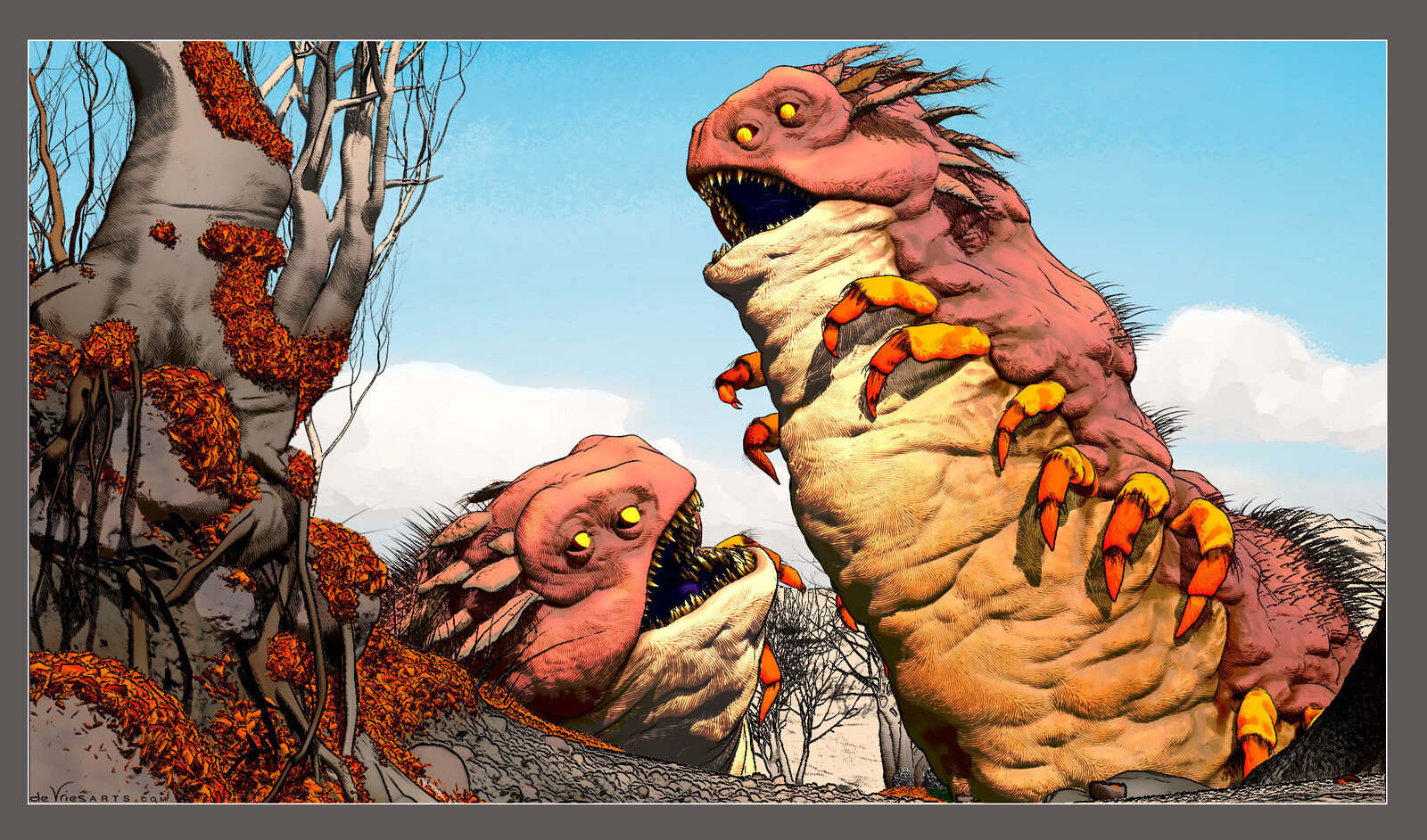 While working on this piece I considered adding a second creature. I decided against it, but do like this screengrab