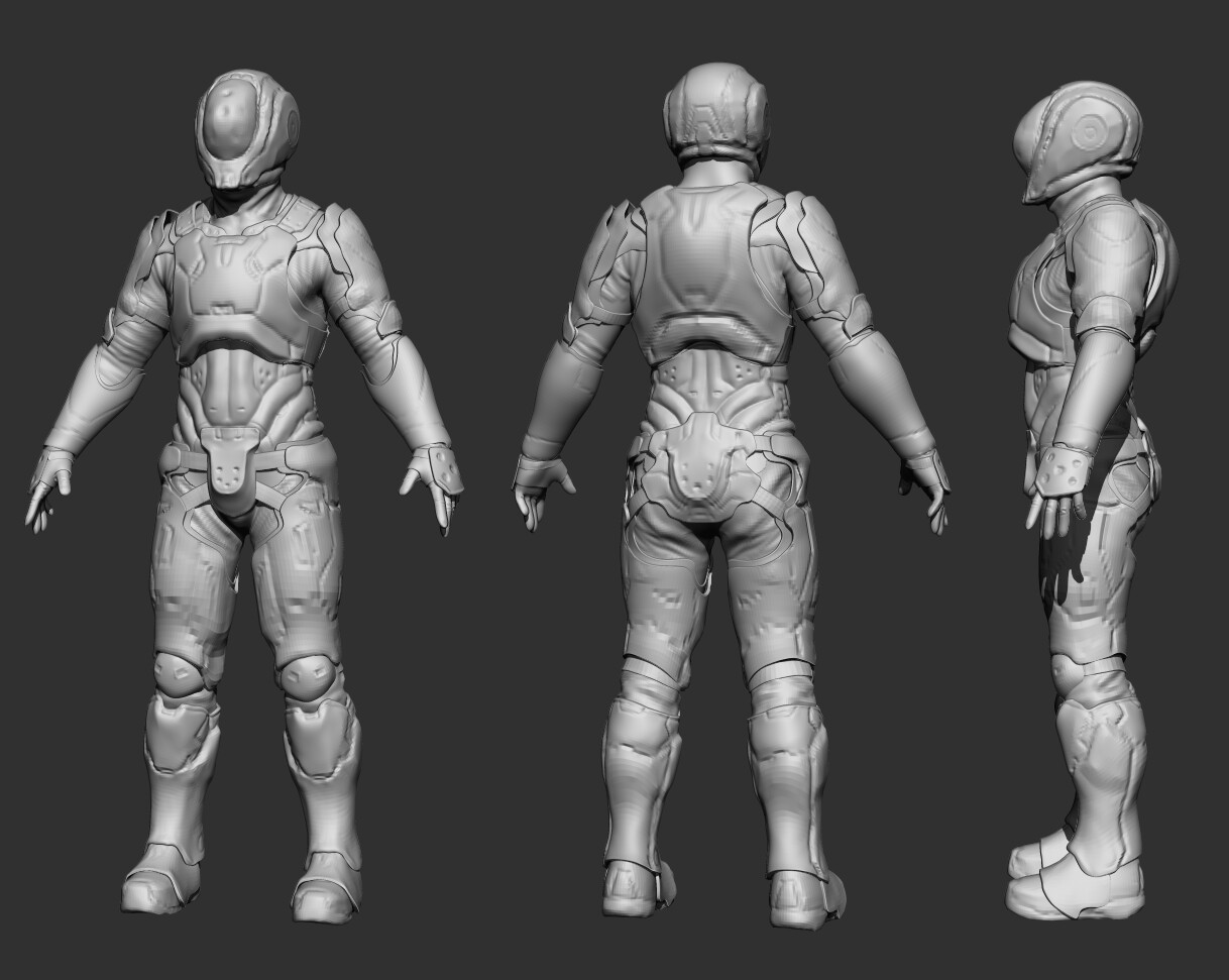 Initial Zbrush blockout and proportioning
