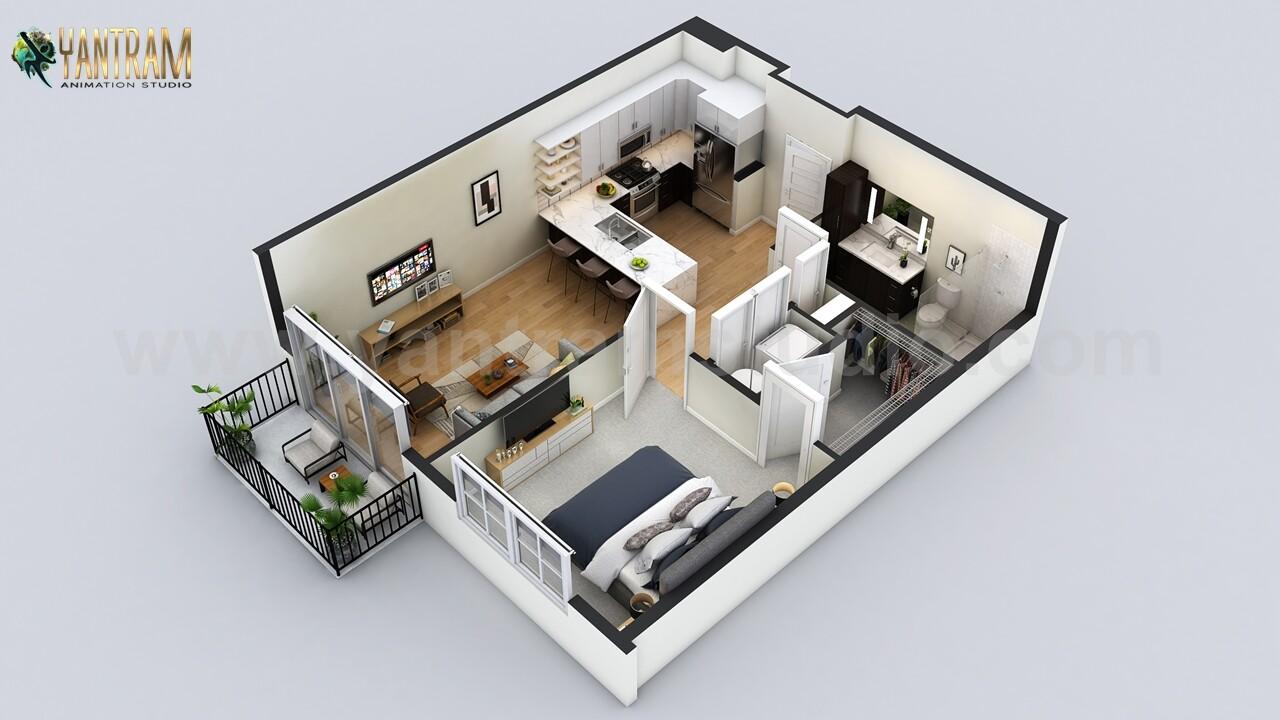 ArtStation - Small Residential Apartment 3D Floor Plan
