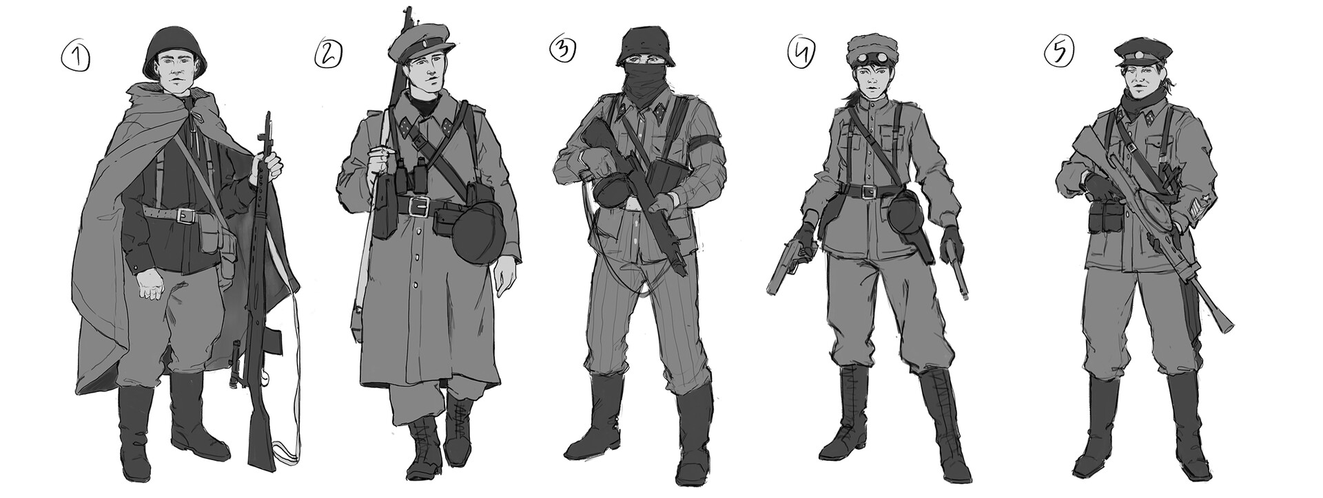 Sketches for the Soviet soldiers.