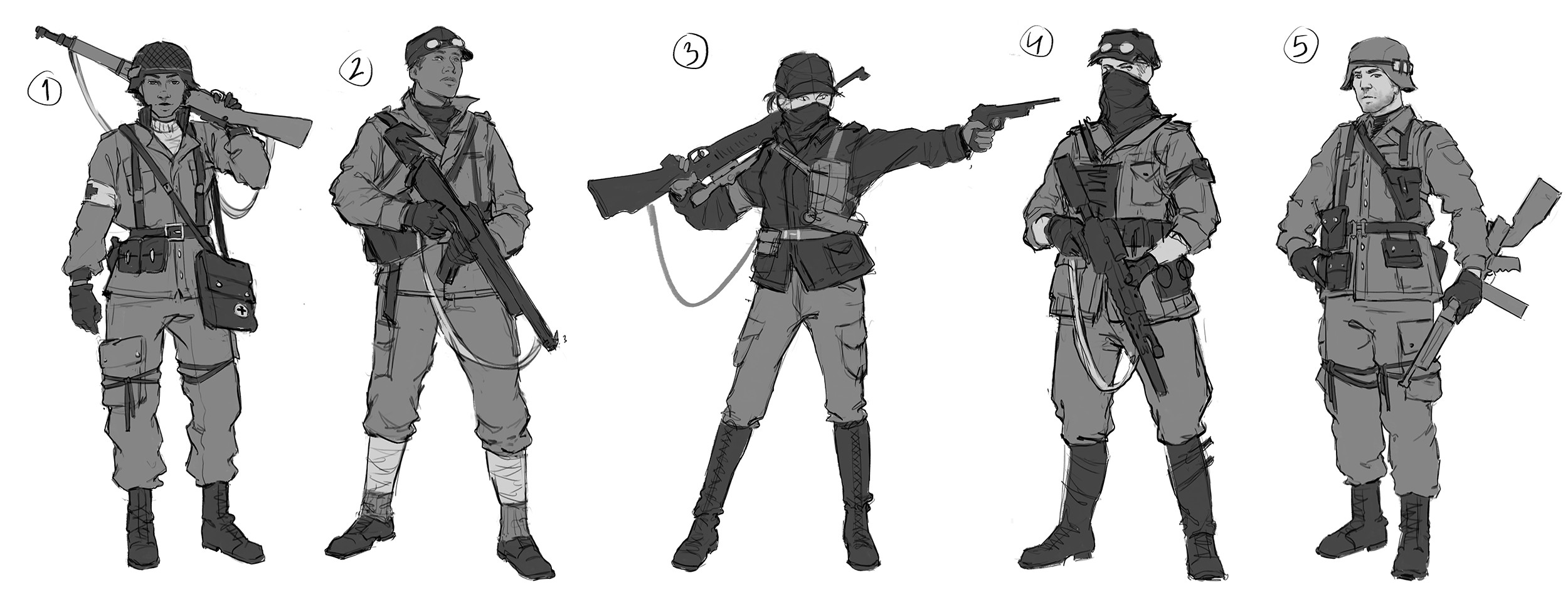 Sketches for the USA soldiers.