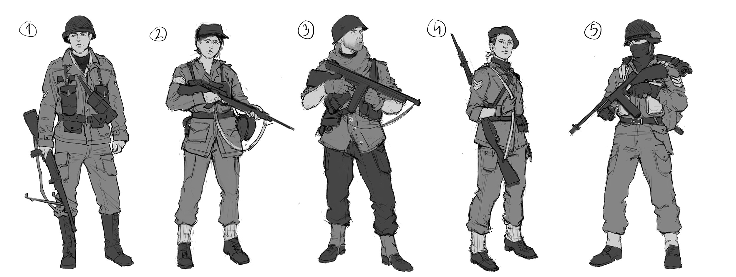 Sketches for the British soldiers. My goal with all of the thumbnails was to explore different ideas that I had, and not get stuck with the first sketch.