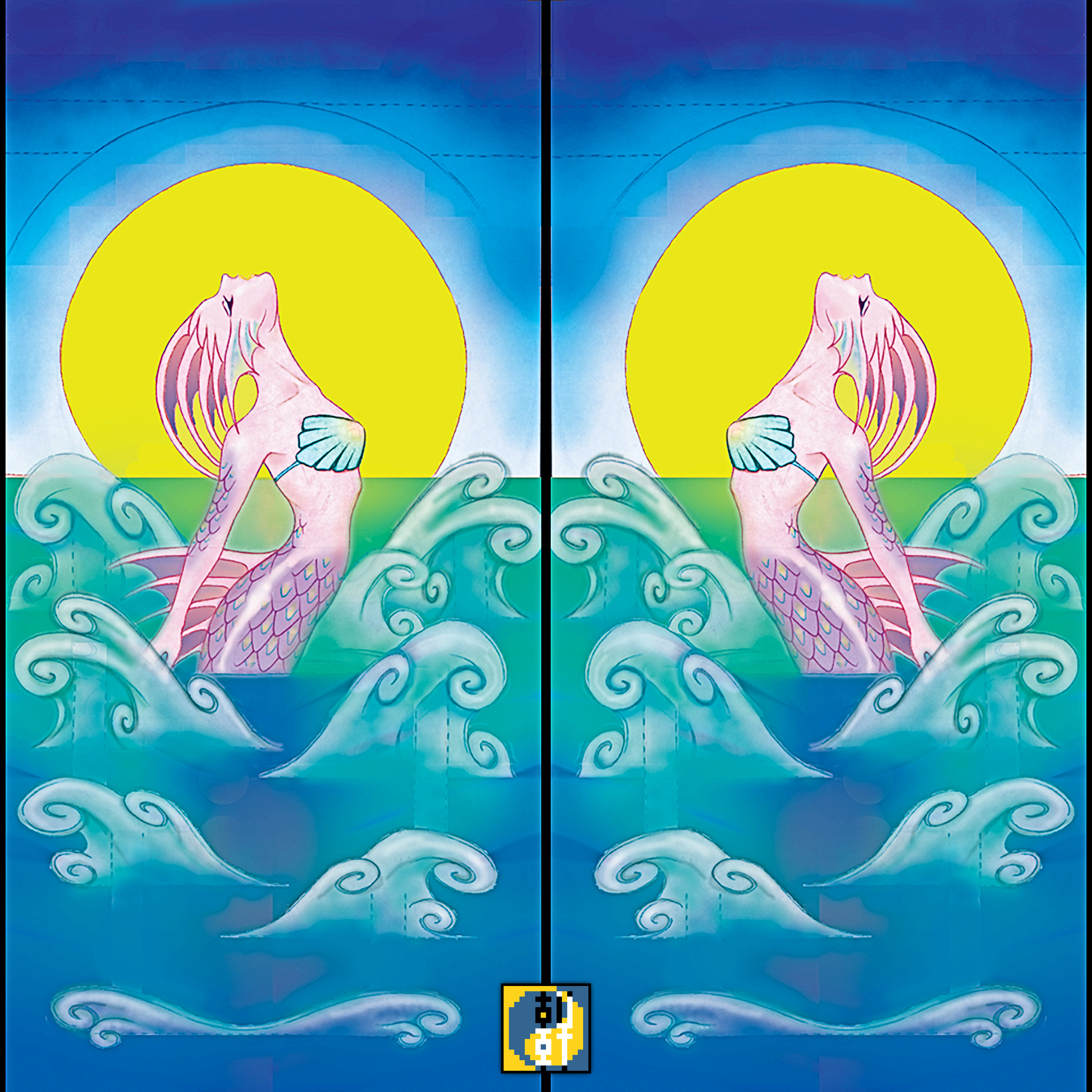 Mermaid Pop Up Card Mirrored as a Door - 1997