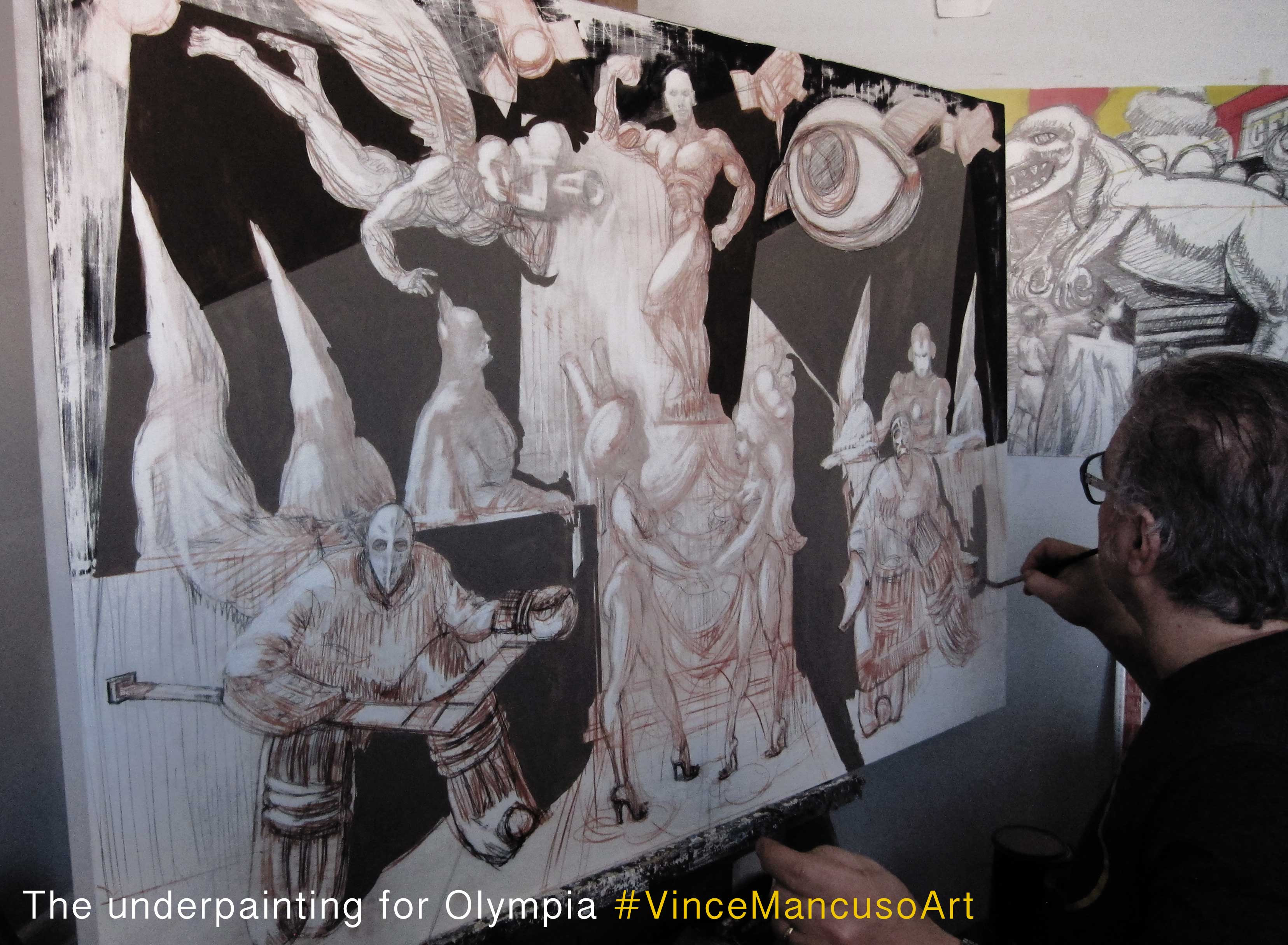 Vince Mancuso painting Olympia at his Gloucester Grove Studio.