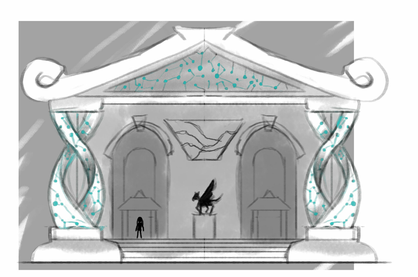 Pegasus Library - inspired by my alma mater with constellations imprinted throughout the facade.