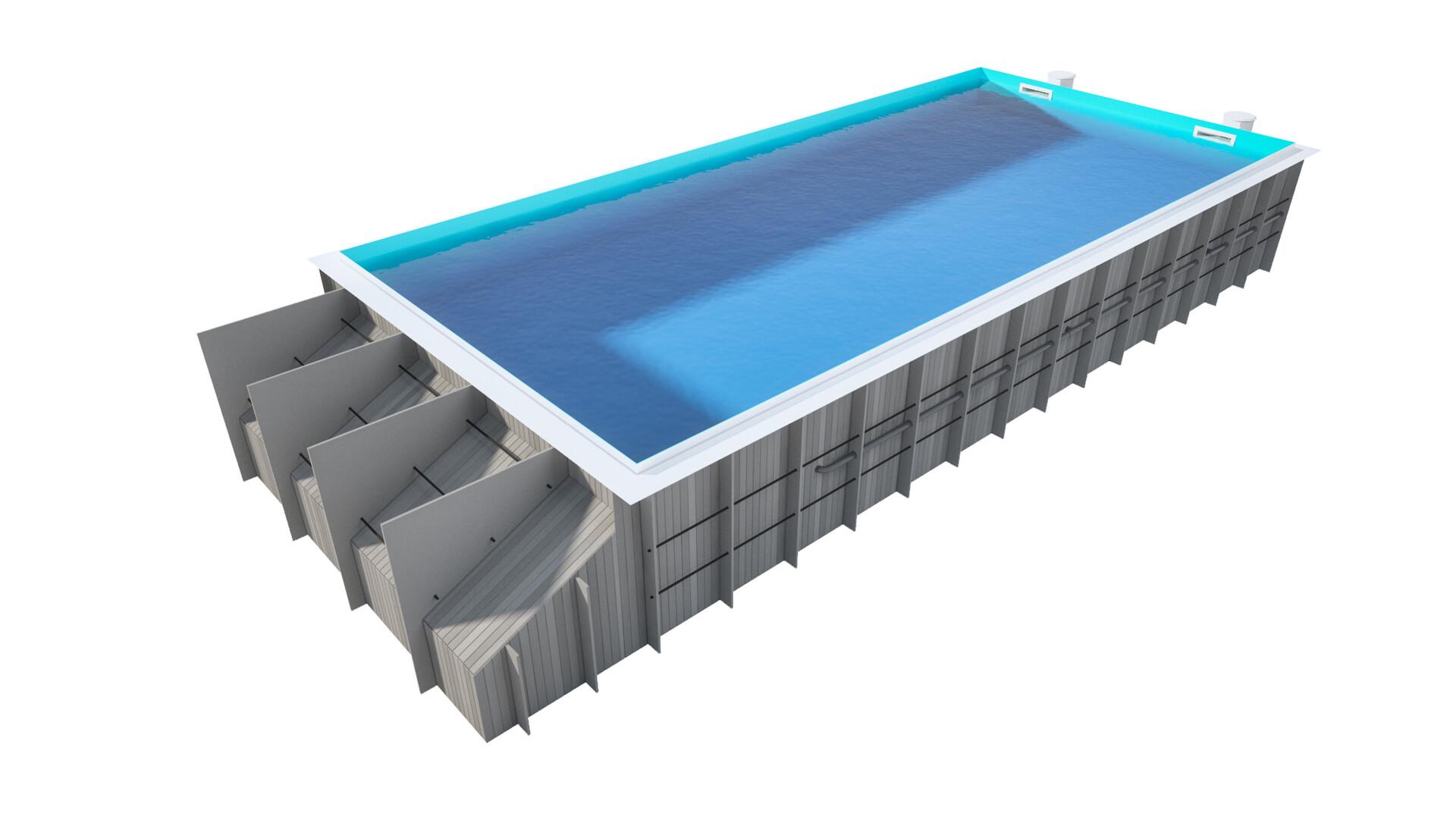 Pawel oleskow basen z roleta ze skimmerem niecka niebieska woda blue