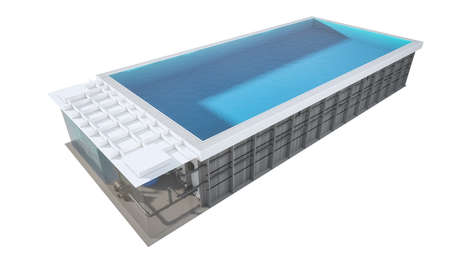Pawel oleskow basen compact zintegrowany z rynna niecka niebieska woda lightblue