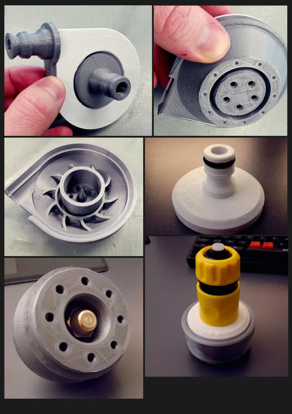 3D printed nozzles.
