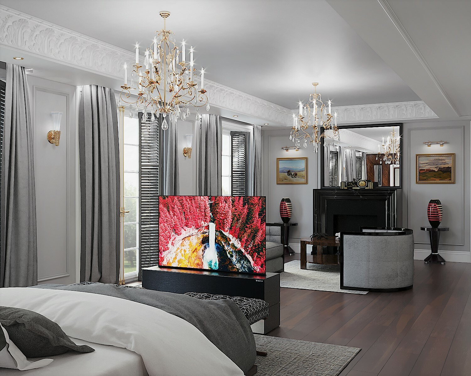View of the TV with extended screen