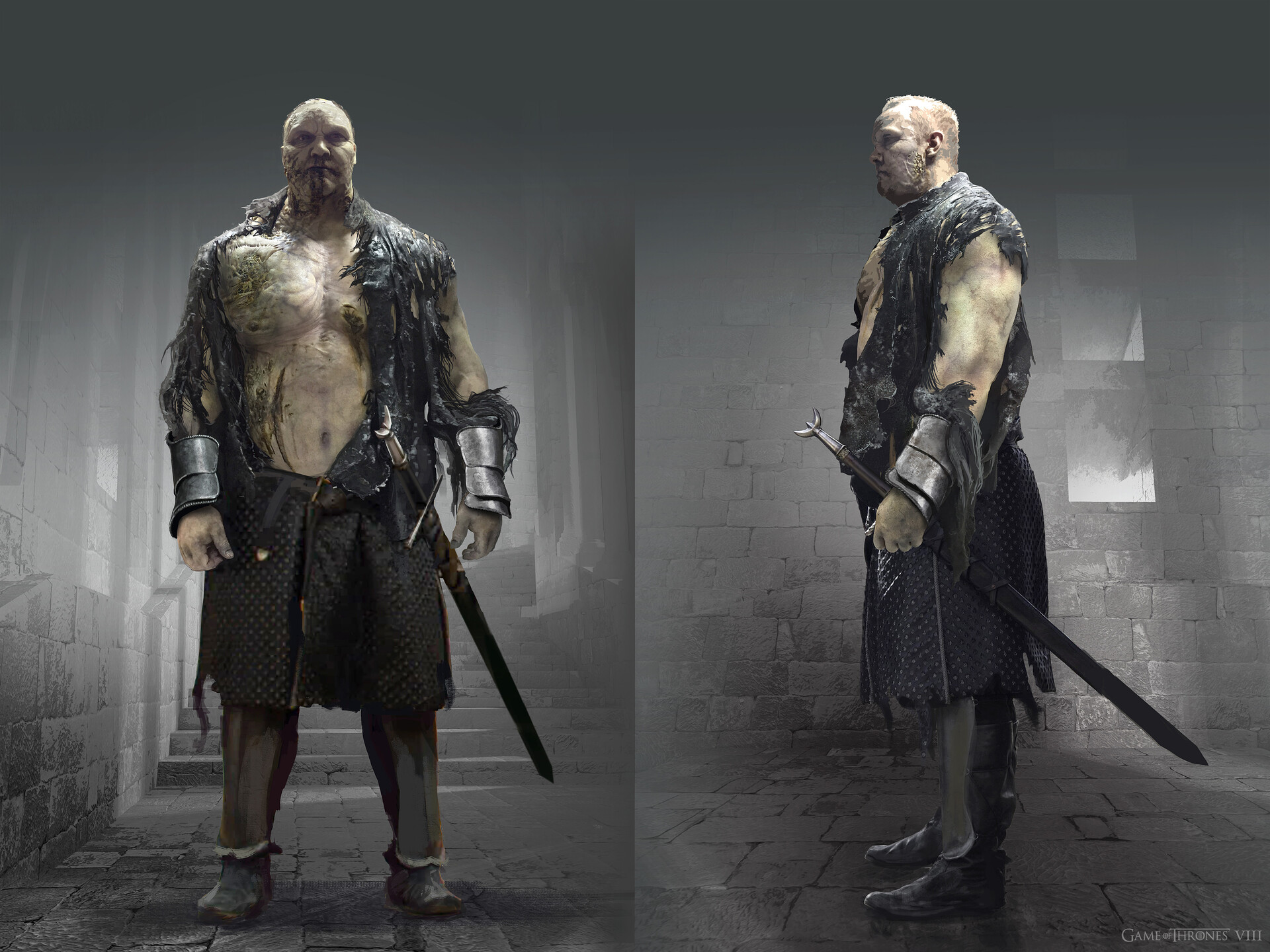 Working with Producer Bernie Caulfield I produced this concept for how The Mountain would look after tearing off his Armour