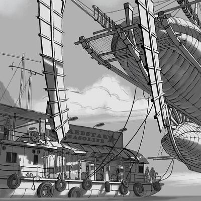 Eddie bennun floating gas station sketch lr