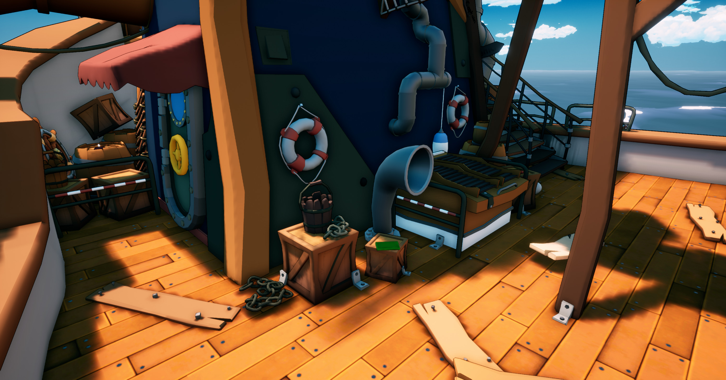 Part of the deck that shows more of the props that I made and how they were used in game.