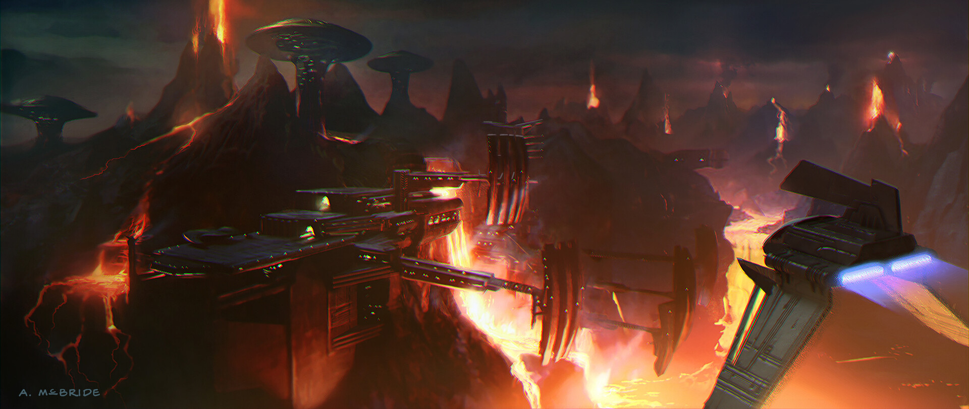 Artstation Star Wars Revenge Of The Sith 2005 Concept Of Mustafarian Lava Collection Plant And Landscape Aaron Mcbride