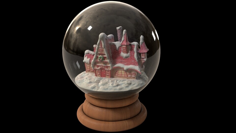 I then sculpted some new snow that complemented the snow globe asset (which was modeled by Kendall Nelson). The scan fits very nicely!