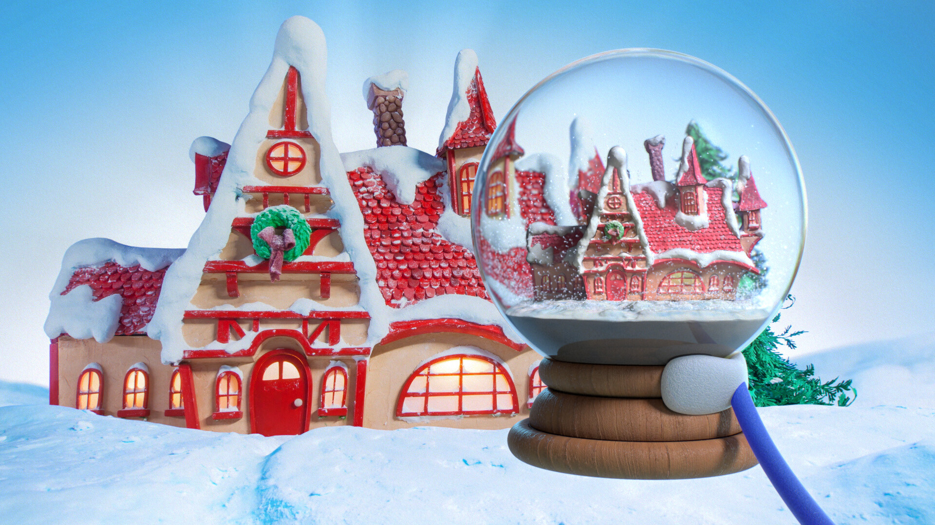 The director wanted a perfect replica of the practical set inside of the snow globe.