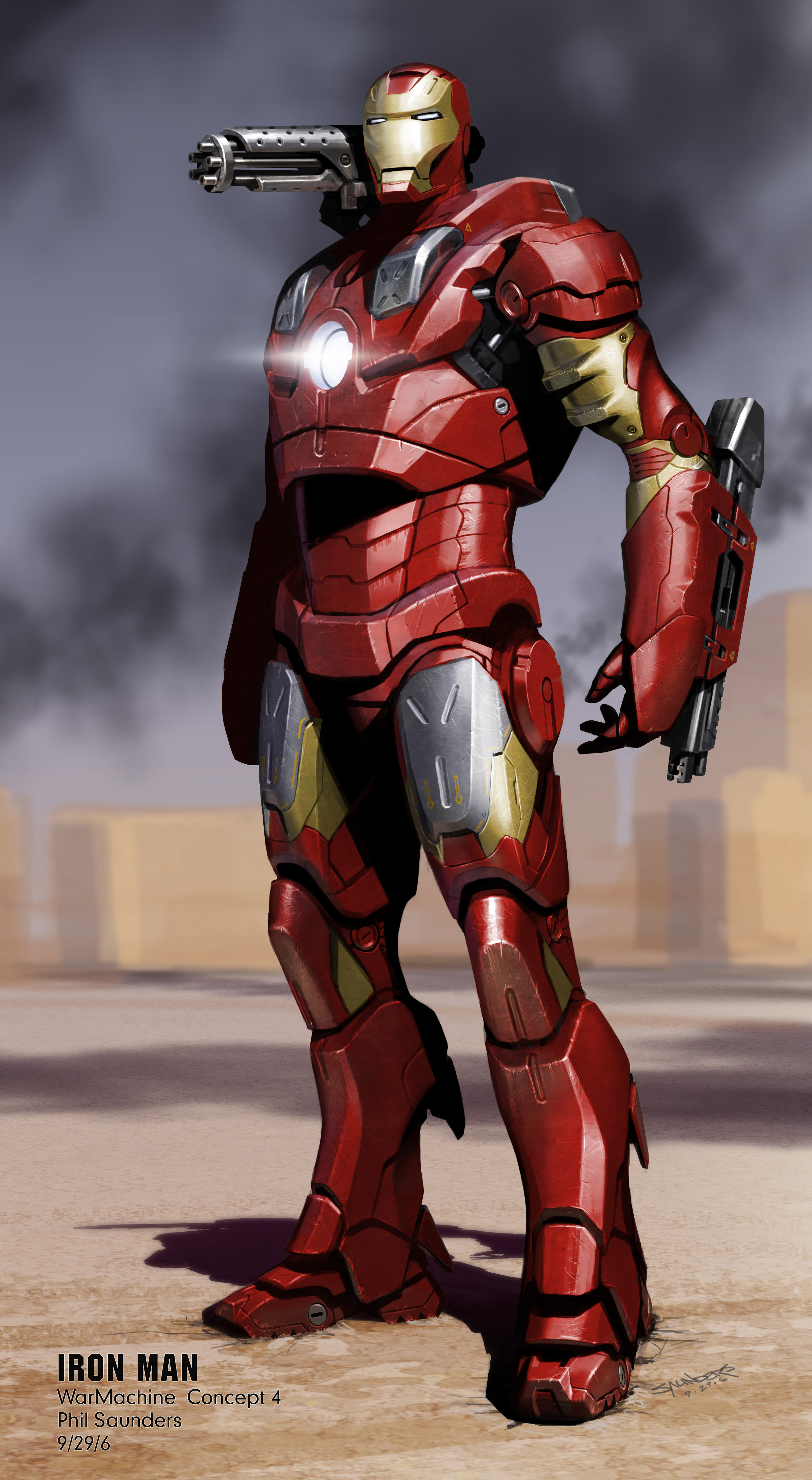 """My last and best pass at the """"War Machine"""" cladding over the Mk 3, still in Iron Man colors."""