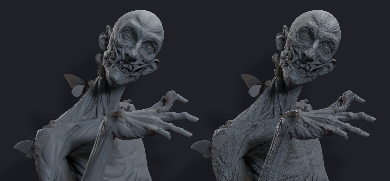 Zombie model with and without normal maps