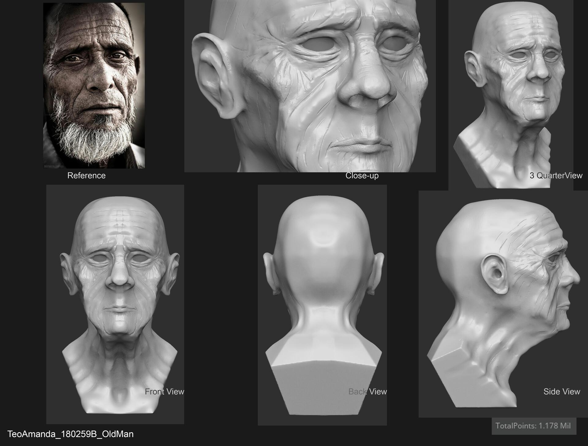 ArtStation - Old Man 3D Model, Amanda Teo