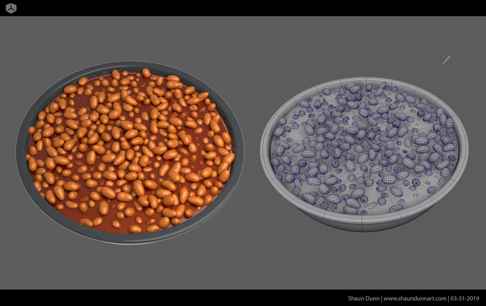 I used Bullet in Maya to achieve the simulated and natural look of all the beans laying on each other.