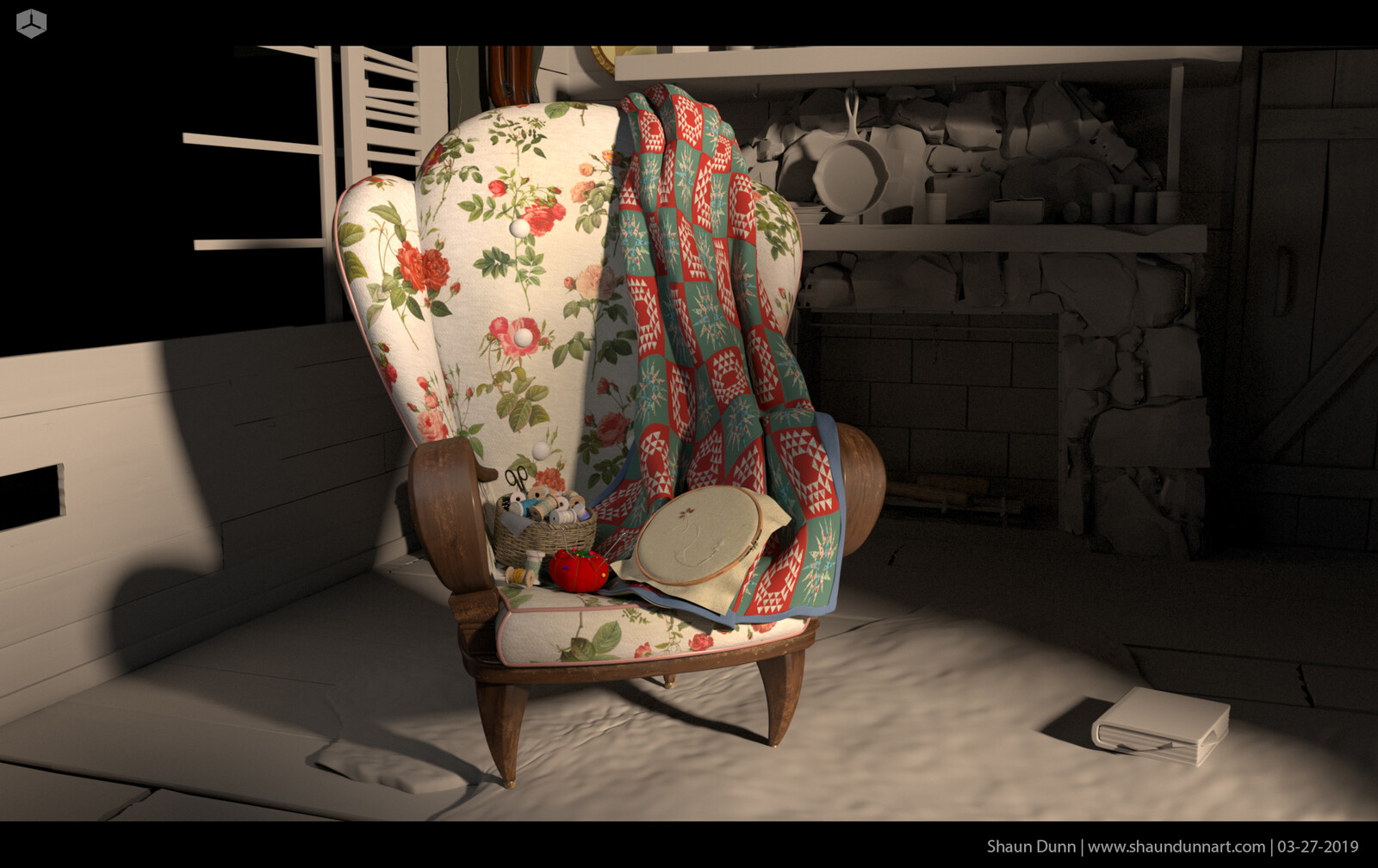 Early texture work on grandma's chair.