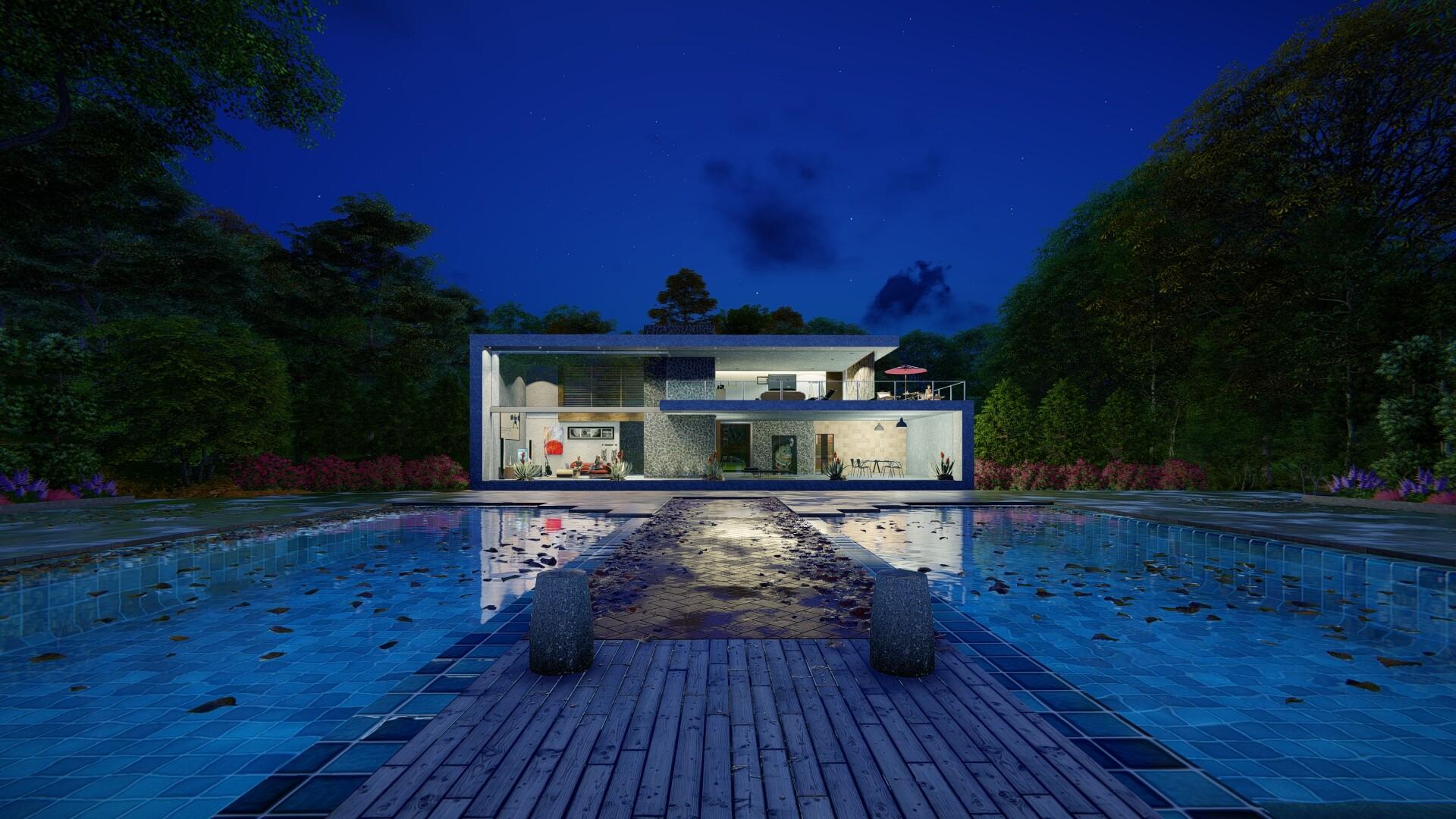 ArtStation - Night Exterior with Lumion 9 Pro , David Ladapo