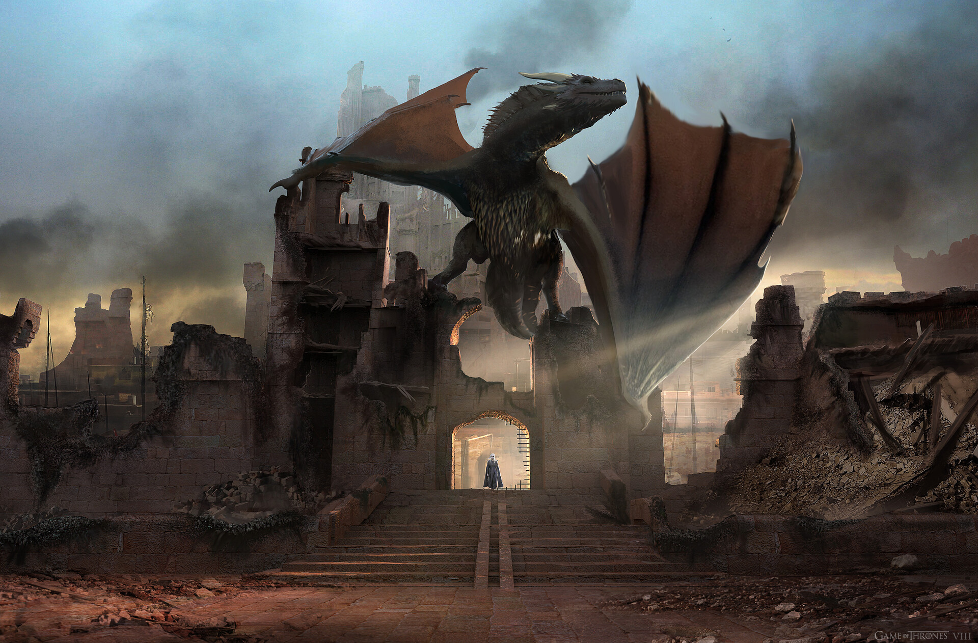An early version with the stairs at 10ft high, Deb the production designer and PRoducers loved this until Miguel pointed out Dany looked a bit precarious standing underneath Drogon! So we moved him to the tower on the right.