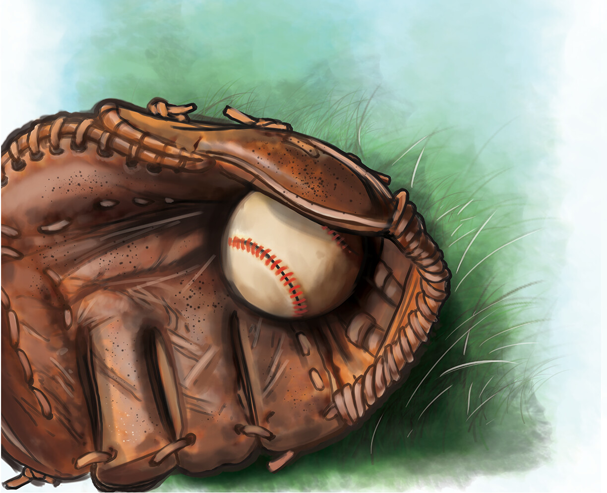 Ball in glove digital painting