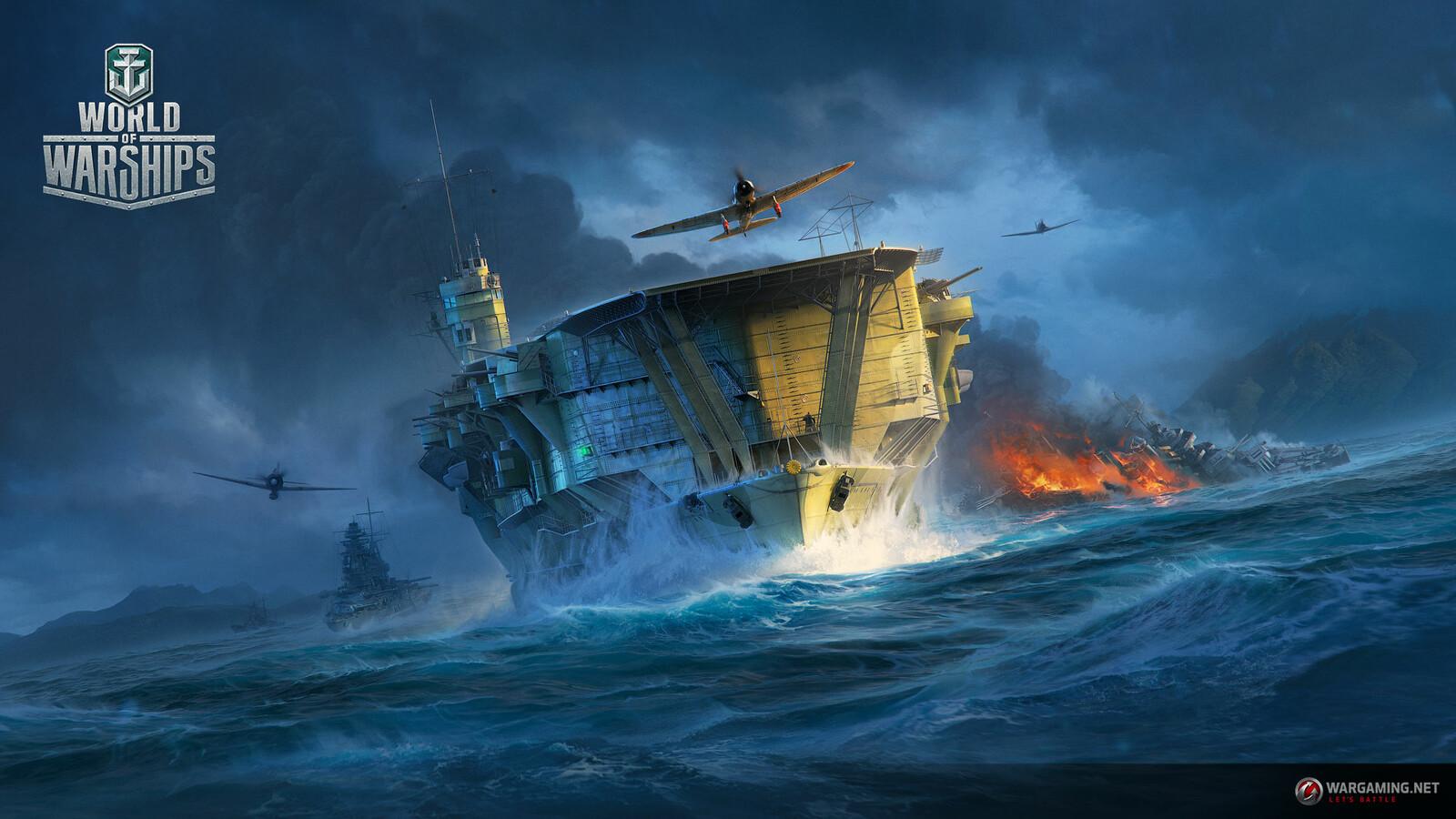 Artstation Wg Spb Wows Wallpaper Japan Carrier Kaga Wargaming