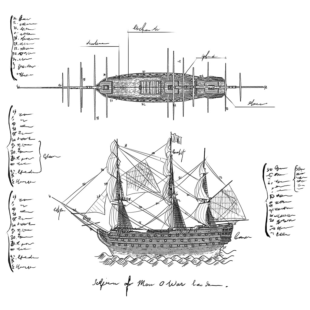 Ship blueprint to be put on a 3d treasure item in the original game.