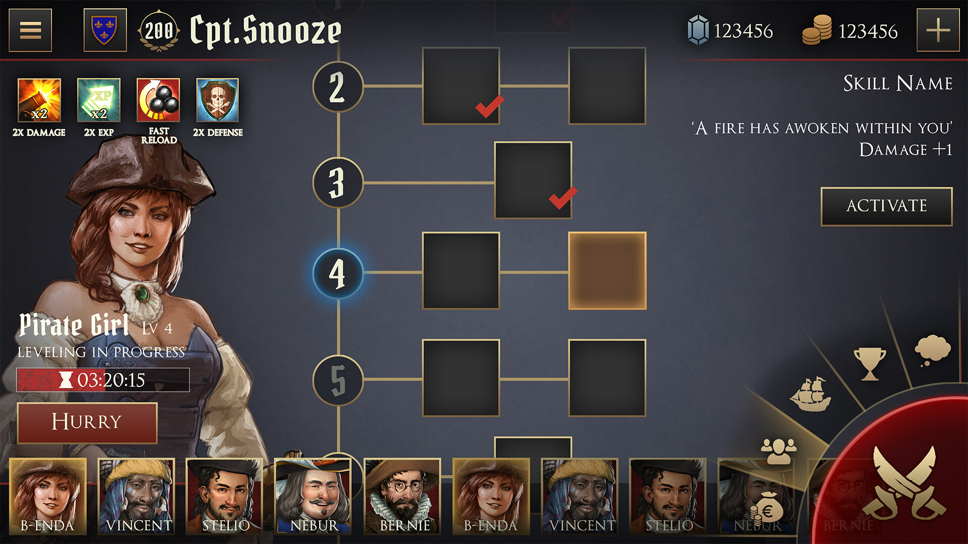 crewmember skilltree UI concept. Here you would unlock new skills by leveling your crew.