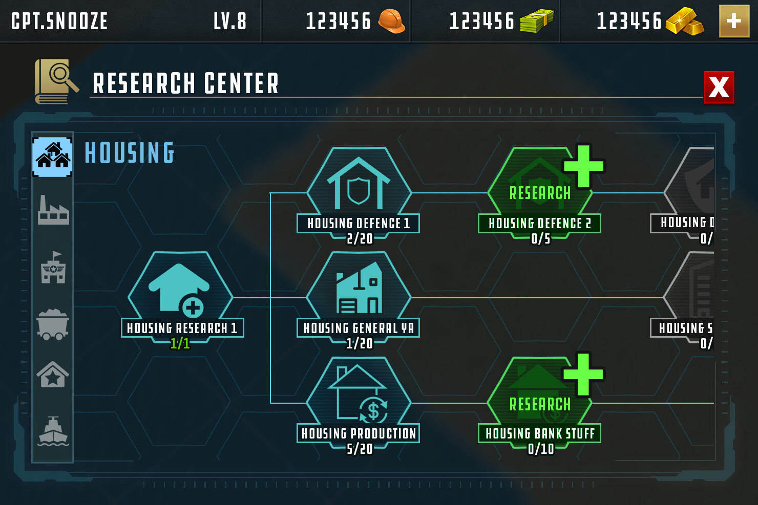 Research center UI concept. Player level determined unlockable skills among other things.