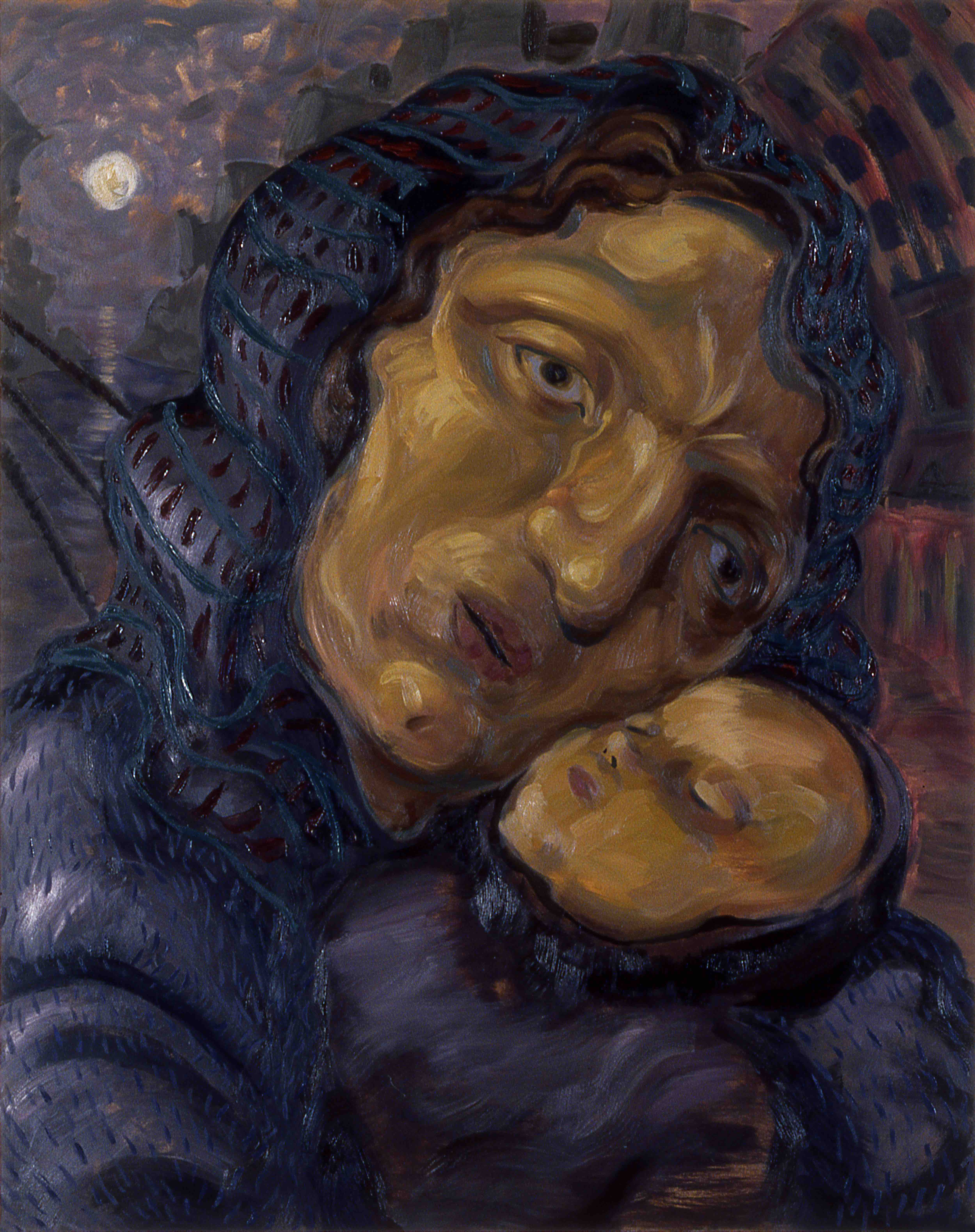 THE IMMIGRANT, painted by Vince Mancuso in 1990, oil on canvas 4x5 feet. Available