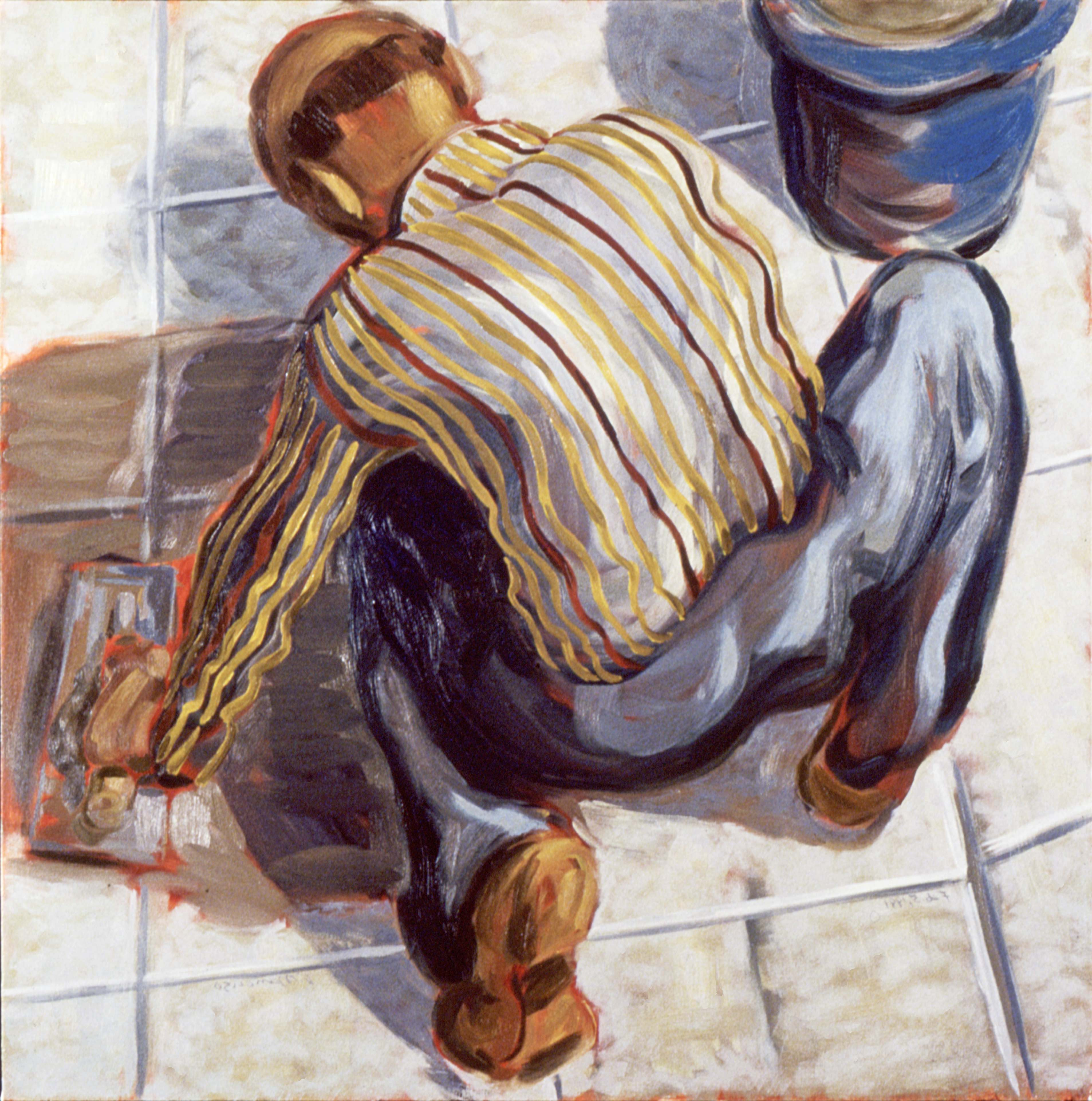 WORK IS THE CONDITION FOR EQUALITY #1, painted by Vince Mancuso in 1991, oil on canvas 4x5 feet