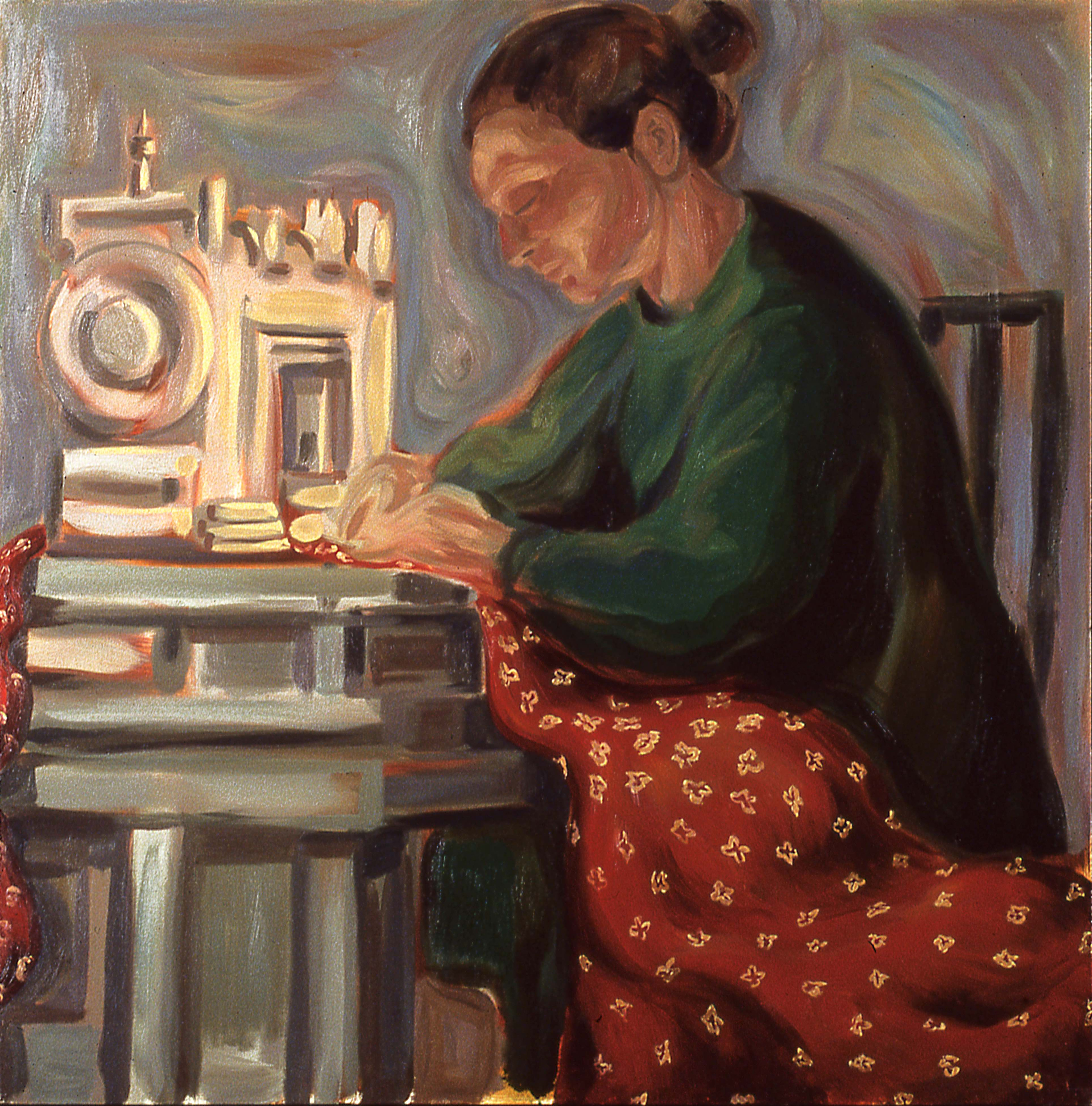 WORK IS THE CONDITION FOR EQUALITY #3, painted by Vince Mancuso in 1991, oil on canvas 4x5 feet