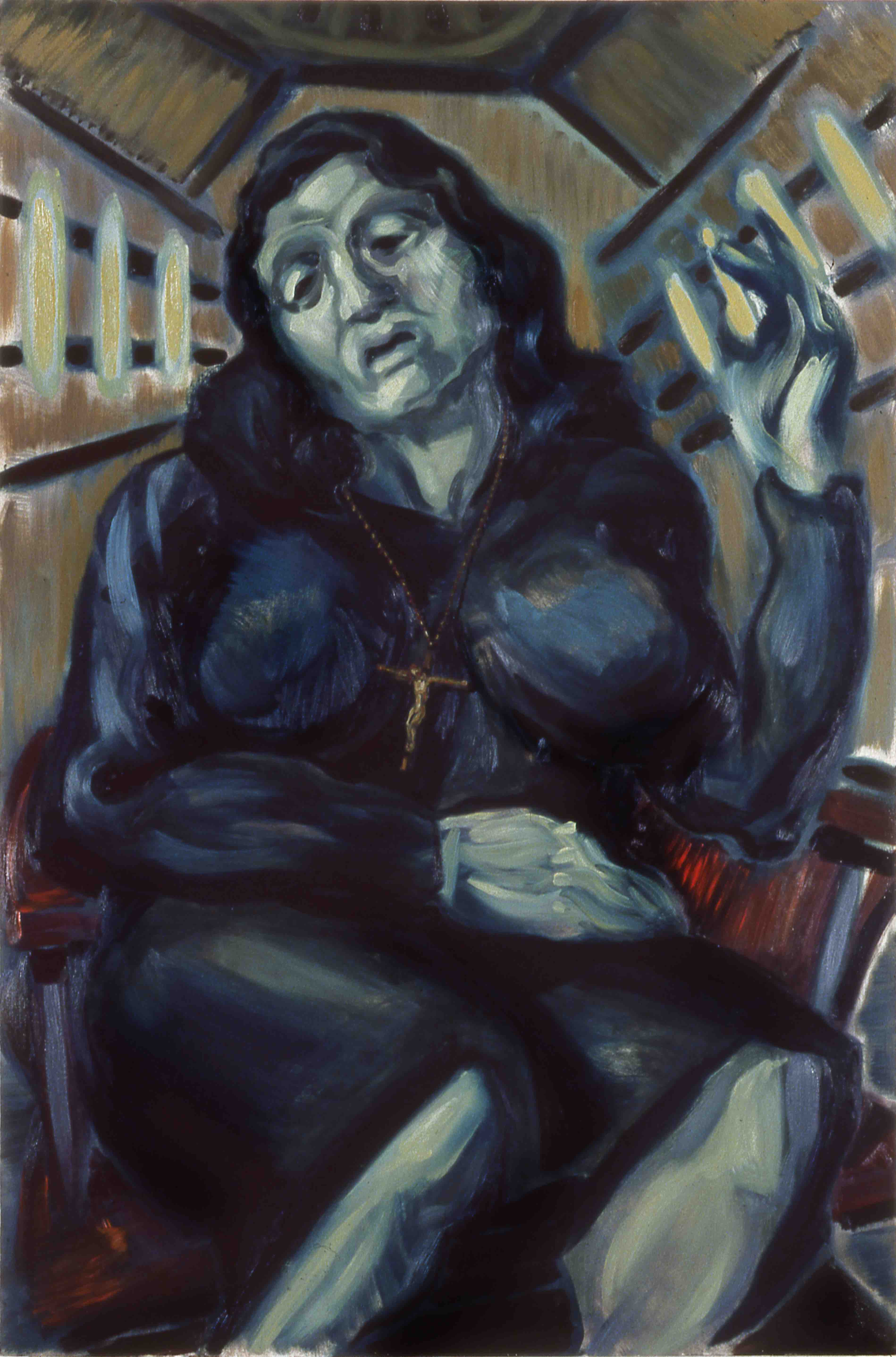 THE PROFESSIONAL MOURNER, painted by Vince Mancuso in 1990, oil on canvas 4x6 feet. Available