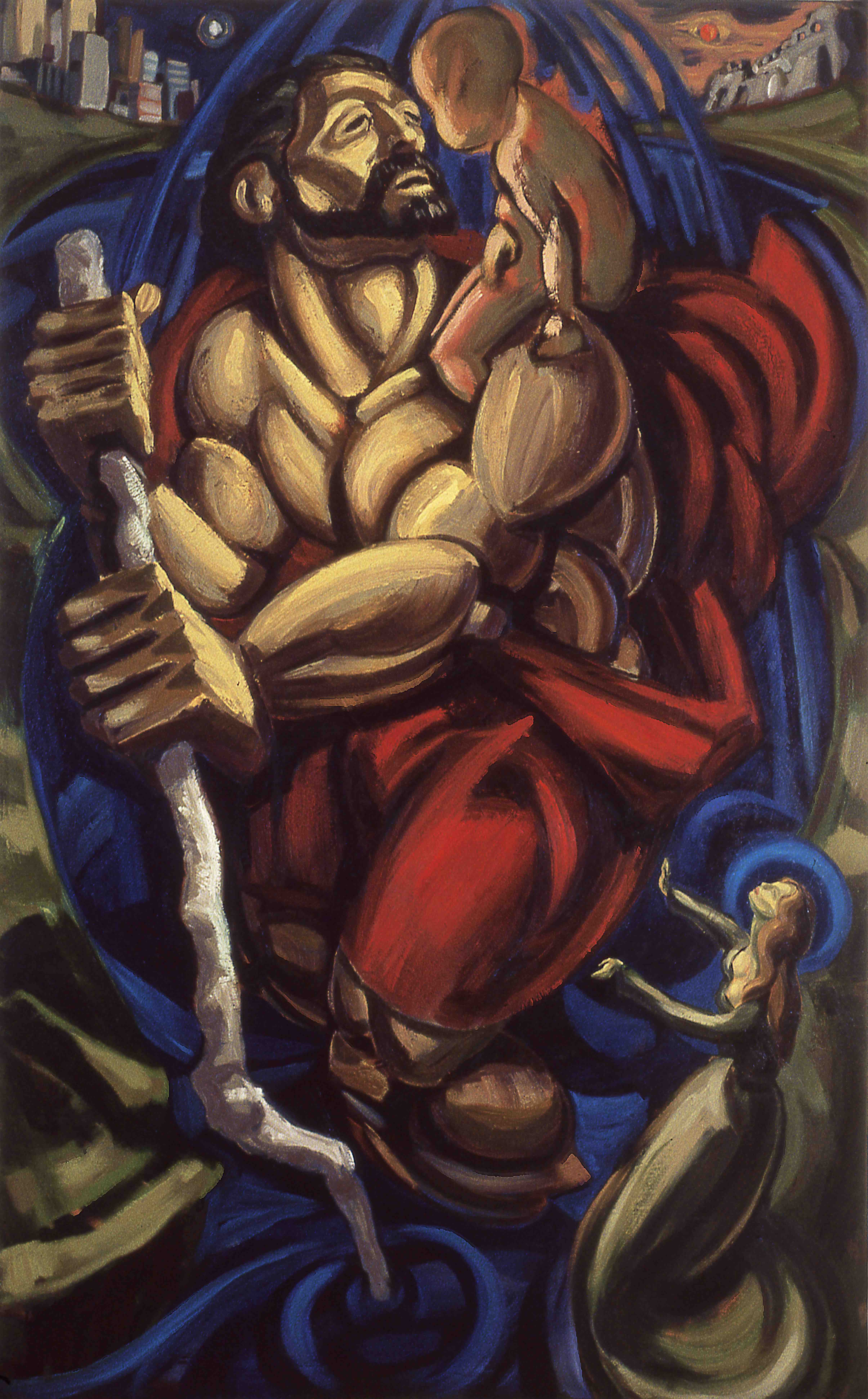 St CHRISTOPHER, painted by Vince Mancuso in 1991, oil on canvas 5x8 feet. Permanent collection of the Delia Cultural Social Centre.
