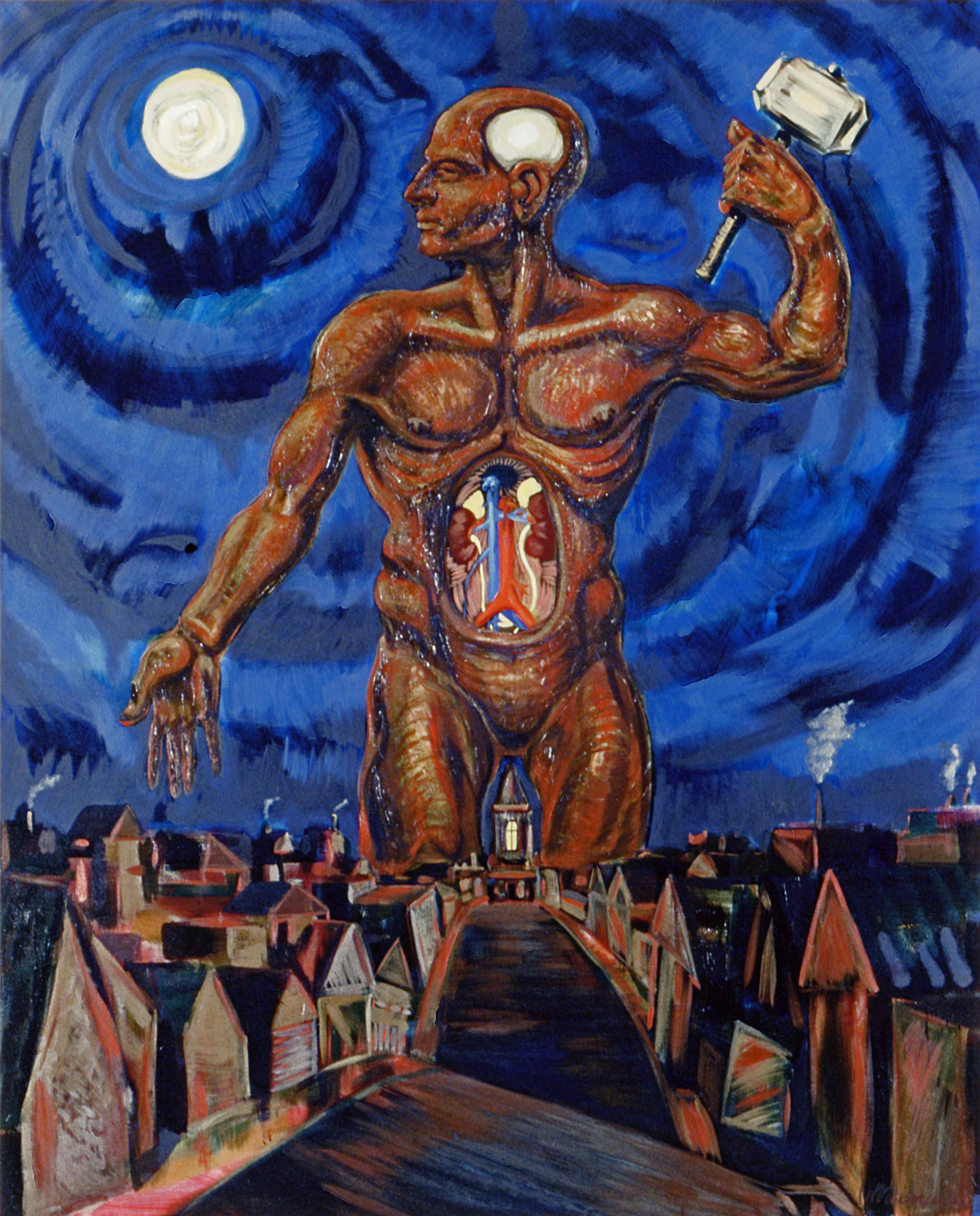 CADAVER MAN, painted by Vince Mancuso in 1990, oil on canvas, 6x4.5 feet. Available