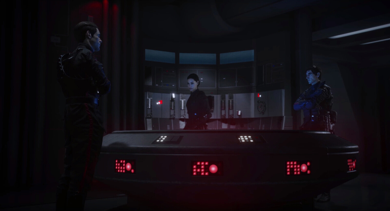 I also made the holotable in the center, and the L shaped computers behind Iden.