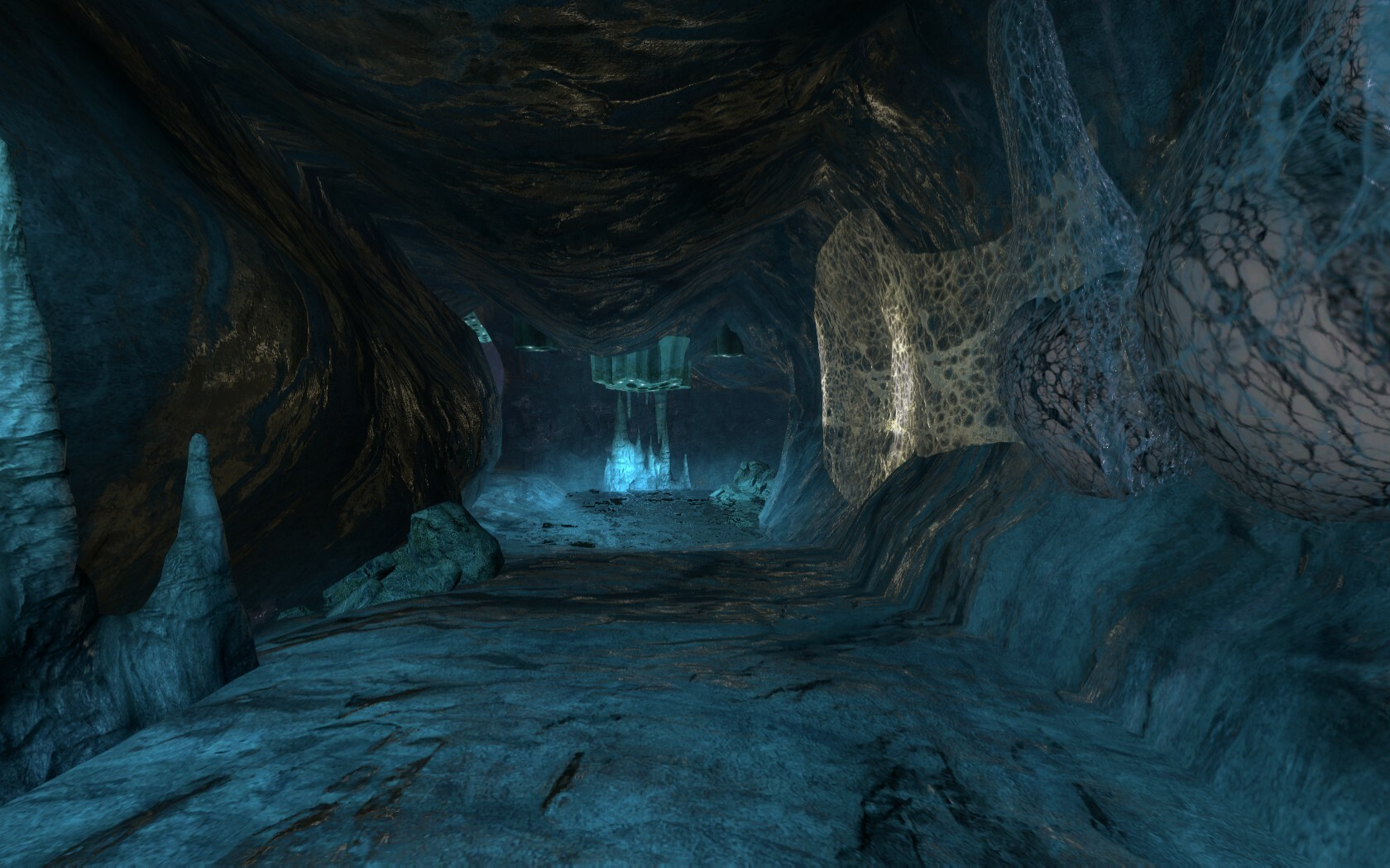 The blue light is also used to guide the player.