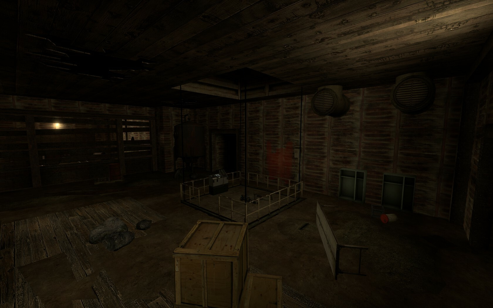 This elevator is used by the player to move into the main mine shaft section.