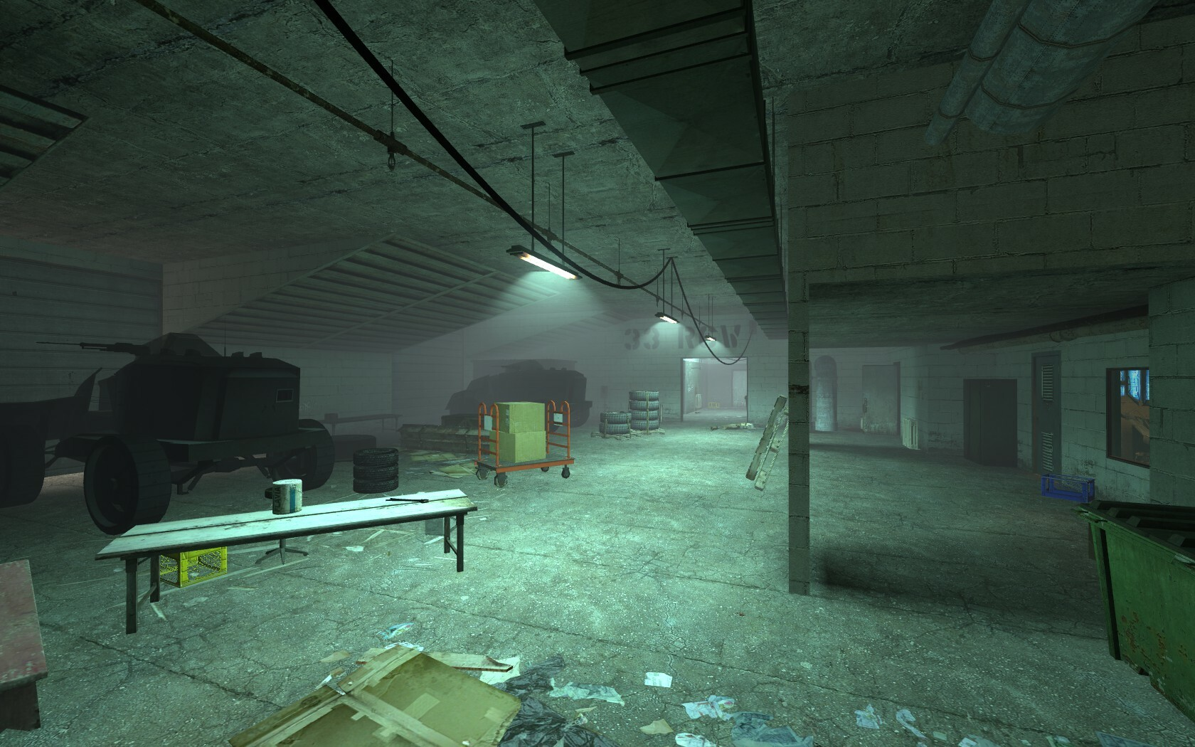 The lighting in this room helps the player navigate through it. The lights down the center create a path whilst the exit itself is same color and brightness of lights in it making it clear to the player where they have to go.